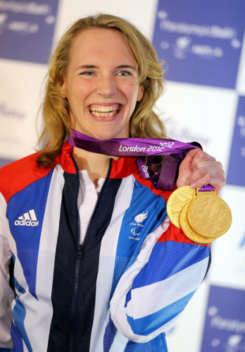 Triple gold Paralympian, Sophie Christiansen, wishes good luck to Slough residents