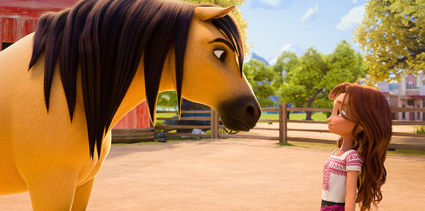 An animated cartoon of a horse and young girl from the movie spirit